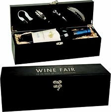 Personalized Black Wine Box Custom Engraved Valentines Day Gifts for Him Her