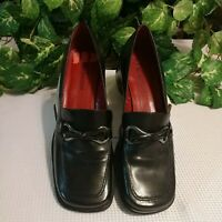 Enzo Angiolini Women's Sz. 8M Loafer Black Leather--MetalTrim & Bow, Wine Insole