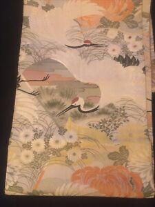 Japanese Silk Obi Fabric Cranes & Flowers in Scenery/Landscape SZ 5ftx1ft. Nice!