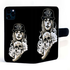 Harlequin Girl With Cap Holding Skull Magnetic Clasp Leather Phone Case Cover