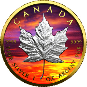 MAPLE LEAF - SUNSET EDITION 1 Oz Silver and Gold Gilded Coin 5$ Dollars 2021