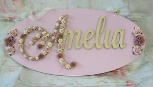 Wooden Name Wall Sign Personalised name plaque MDF Flower Plaque