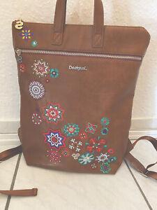 Desigual Rucksack Damen Backpack Tasche Kunstleder Cognac,kaum Benutzt 🌸