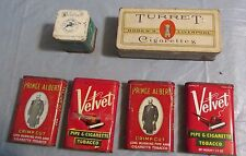 Vintage Lot of 6 Tobacco Tins Whitehall  Turret Cigarettes Velvet Prince Albert