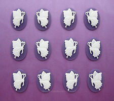 12 White BUTTERFLY on PURPLE Left & Right Facing 6 pairs 25mm x 18mm CAMEOS Lot