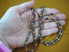 "(E99-1) HEMATITE Purple green gold brass 31"" long Eyeglass leash holder necklace"