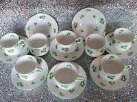 VINTAGE SET 8 QUEENS ROSINA FINE BONE CHINA CUPS & SAUCERS SHAMROCK/CLOVER