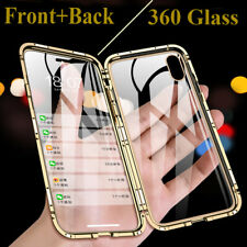 Para Samsung A30 A50 A70 iPhone XS Max XR 7 8 360 Funda Cubierta de vidrio de metal magnético