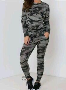 Ladies Women's Army Camouflage Print 2 Piece Tracksuit Jogging Lounge Suit UK