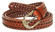 QHA Mens Womens Braided Genuine Leather Belt Casual Buckle Q5046
