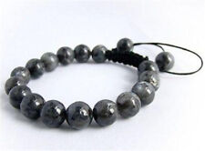 Natural Men's handmade bracelet all 10mm Black Gray Labradorite beads gems