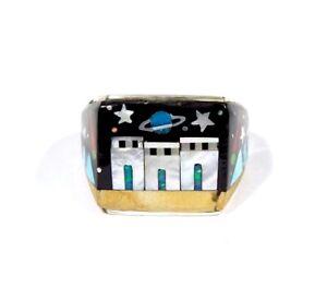 Multicolor Inlay Genuine 925 Sterling Silver Pueblo, Galaxy Men's Ring sz 7-10