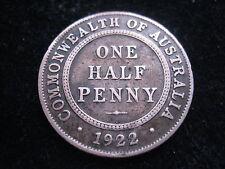 "MDS AUSTRALIEN ½ ONE HALF PENNY 1922 ""GEORGE V."""