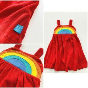 New Pinafore Girls Red Terry Rainbow Dress Ex Little Bird Mothercare 9m-8yr