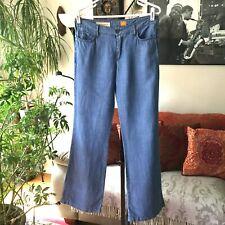 PILCRO and the Letterpress 27 Anthropologie Tencel & Linen Wide Leg Flare Jeans