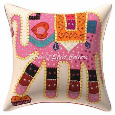 """Mirror Embroidery Cushion Cover Indian Elephant Cushion Cover Home Decor 16x16"""""""