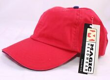 The Dad Hat in Red wiith Navy Blue Sandwich Bill and Buton by Magic Headwear NEW