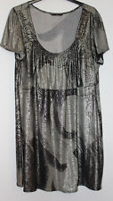 Evans Silver Snakeskin Look Tunic Top Size 20