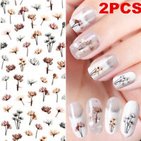 2PCS Dandelion Design 3D Nail Art Stickers Adhesive Manicure Transfer Decals DIY