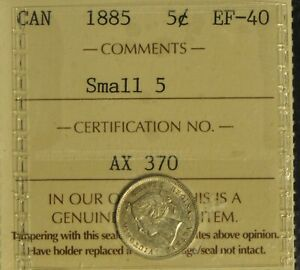 Canada 1885 5 Cent Piece - ICCS -- EF40 - Small 5 -