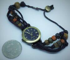 Ladies Kahuna Analogue Watch,Beads,Twine,Craft,Rustic SteamPunk,Fast Free UK P&P