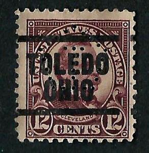 USA, SCOTT # 564, PRECANCEL PERFIN TOLEDO, OHIO, YEAR 1922 CLEVELAND, PERF 11