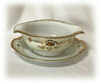 Vtg China SONE Japan Floral Cream Verge White Gold Trim Gravy w Underplate SON1