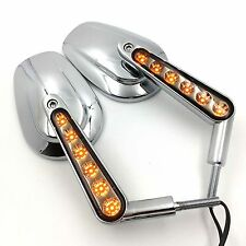 Chrome Rear View Left Right Mirrors with LED Stem Fit For Harley VRSCF