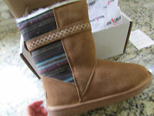NEW MINNETONKA SUEDED BOOTS WOMENS 8 FAIRMONT TAN CHESTNUT SHEEPSKIN LINED 86011