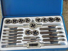 24pc UNF/UNC Tap Die Set c/w Stock & Wrench Tin Store Box Classic Car 1148 TP103