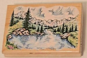 Majestic Lake Scenic Mountain Stampendous P009 Trees Wood Mounted Rubber Stamp