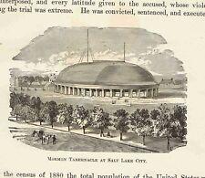 MORMON TABERNACLE AT SALT LAKE CITY - 1882 Page of American History