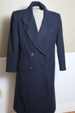 Vintage USA Jonathan Michael Wool Navy Long Double Breasted Coat Trench Size 10P