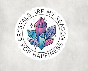 2 x Crystals For Happiness Wiccan Spiritual Vinyl Stickers Sticker Laptop