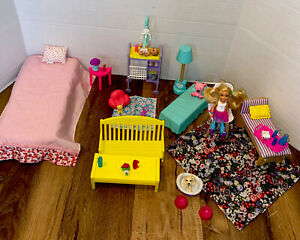 Barbie Doll Mixed Furniture And Accessories Lot Baby Chelsea Puppy Dog