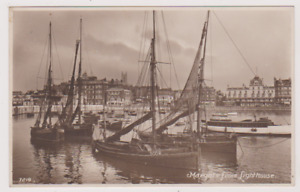 HARBOUR WITH FISHING SMACKS FROM LIGHTHOUSE - MARGATE - KENT - RP by HAWKES