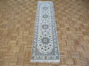 2'2 x 8 Hand Knotted Ivory Fine Nain With Silk Oriental Rug G8765
