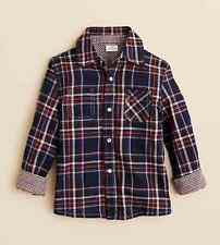 Egg by Susan Lazar Boys' Plaid Button Down Shirt, Navy, Size 6Y, MSRP $48