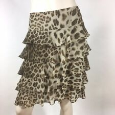 TALBOTS Size 2 Brown Cheetah Tiered Ruffle Georgette Career Work Skirt NEW $119