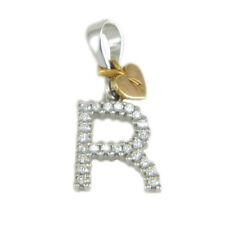 Pendente ciondolo iniziale lettera R in oro bianco 18 carati e zirconi bianchi