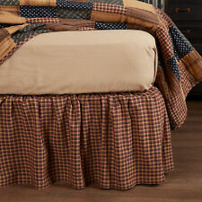 Vhc Primitive Bed Skirt Dust Ruffle King Queen Twin Bedding Red Cotton Plaid