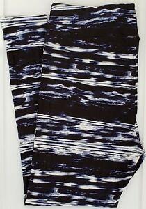 TC2 LuLaRoe Tall & Curvy2 Leggings Cute Black Blue Tie Dye Stripes NWT G43