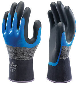 10 x Pairs Showa Nitrile Foam 3/4 Grip Oil Tears Abrasions Work Gloves (376R)