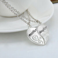 2PC Mother & Daughter Family Member Pendant Necklace Charm Mother's Day Heart