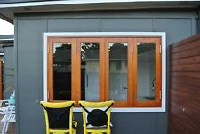 BIFOLD FRENCH WINDOWS, SOLID CEDAR TIMBER, 2400W X 1200H, FULLY BUILT, IN STOCK