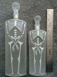 """LOT 2 Empty Halloween ALIEN SKELETON 10"""" & 12"""" Vodka GLASS BOTTLE  SKULL STOPPER"""