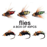 40pcs 8# Dry Fly Fishing Mixed Trout Fishing Flies Lure Simulationed Fly Hook
