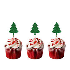 Christmas Tree Cupcake Toppers - Pack of 8 - Glittery Green - Xmas Cake Topper
