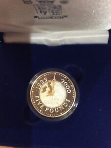 2000 Silver Proof Millennium crown coin with box and leaflet