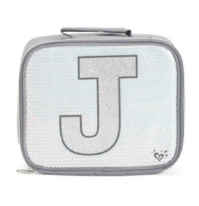 Justice Girl's Initial 'J' Sequin UNICORN Lunch Tote Lunch Box New With Tags